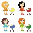 Four girls with perambulators — Stock Vector