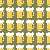 Seamless background with beer mugs — Stock Vector