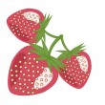 Three strawberries on white background — Stock Vector