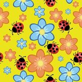 Seamless background with flowers and ladybirds — Stock Vector