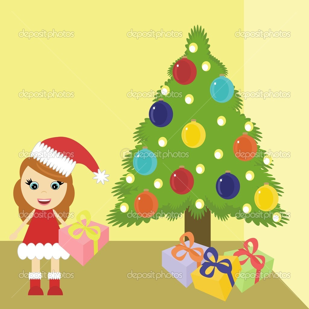 Girl in christmas dress near tree stock illustration