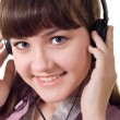 Attractive girl with headphones — Stock Photo
