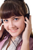 Attractive girl with headphones — Foto Stock