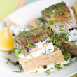 Sandwich with herring — Stock Photo