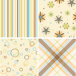 Set of four seamless retro pattern — Stock Photo