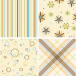 Set of four seamless retro pattern — Stock Photo #7562094