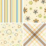 Set of four seamless retro pattern — Stock Photo