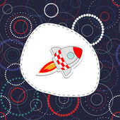 Gratulationskort med söta raket — Stockfoto