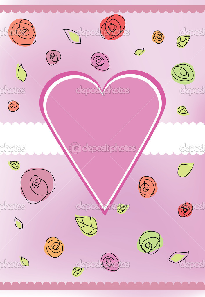 Valentine card with heart shape and roses flowers — Stock Photo #7562265