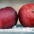 Red apples, Frost and snow — Stock Photo #7683276