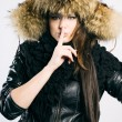 Beautiful lady in fur cap — Stock Photo