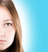 Piękna dziewczyna twarz. — Zdjęcie stockowe