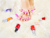 Feet in toe separators — Stock Photo