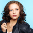 Girl in leather jacket — Stock Photo
