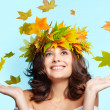 Young woman and leaf fall — Stock Photo #7244700