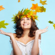 Young woman and leaf fall — Stock Photo #7244714