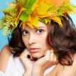 Girl in autumn garland — Stock Photo #7244866
