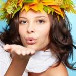 Girl in autumn garland — Stock Photo #7244913
