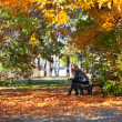 Girl on a bench in park — Stock Photo #7479625