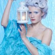 Frozen fairy with lantern — Stock Photo