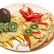 Pizza with fruits — Stock Photo