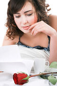 Woman reading letter — Stock Photo