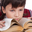 Schoolboy with book — Stock Photo