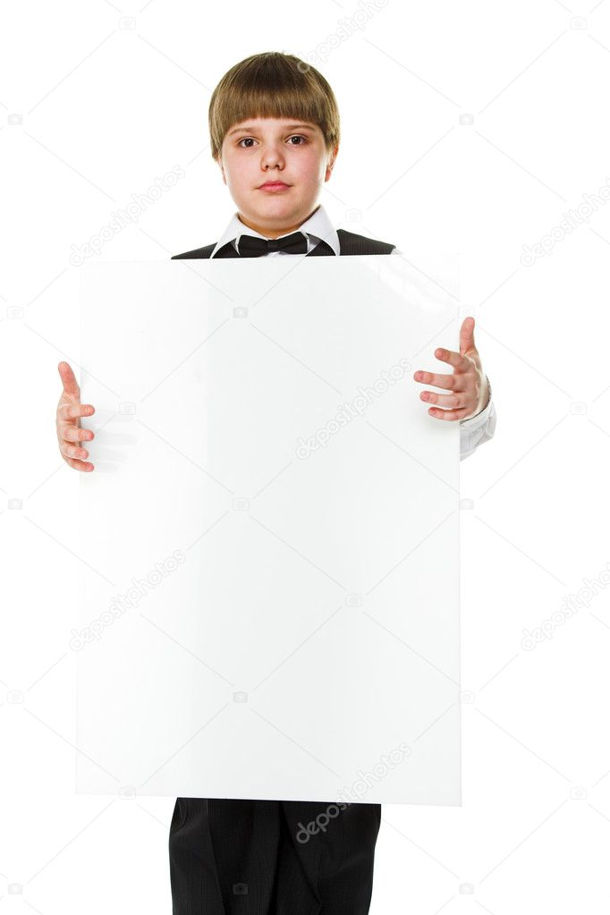 Young businessman holding a big white billboard — Stock Photo #7513927