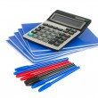 Exercise book with pen and calculator - Foto de Stock