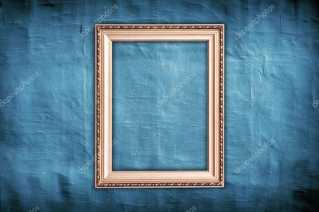 Vintage golden frame on grungy blue vintage background  — Stock Photo #7154673
