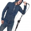 Stock Photo: Rock singer isolated