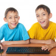 Twins with computer mouse and keyboard — Stock Photo #7320265