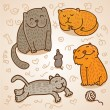 Cute vector cats — Stock Vector
