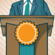 Politic standing near tribune - Stock Vector