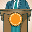 Stock Vector: Politic standing near tribune