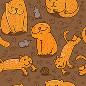 Naadloze patroon met katten — Stockvector