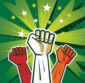Cartel de la mano de revolución — Vector de stock