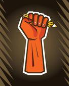 Revolution hand holding pencil — Stock Vector