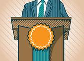 Politic standing near tribune — Stock Vector