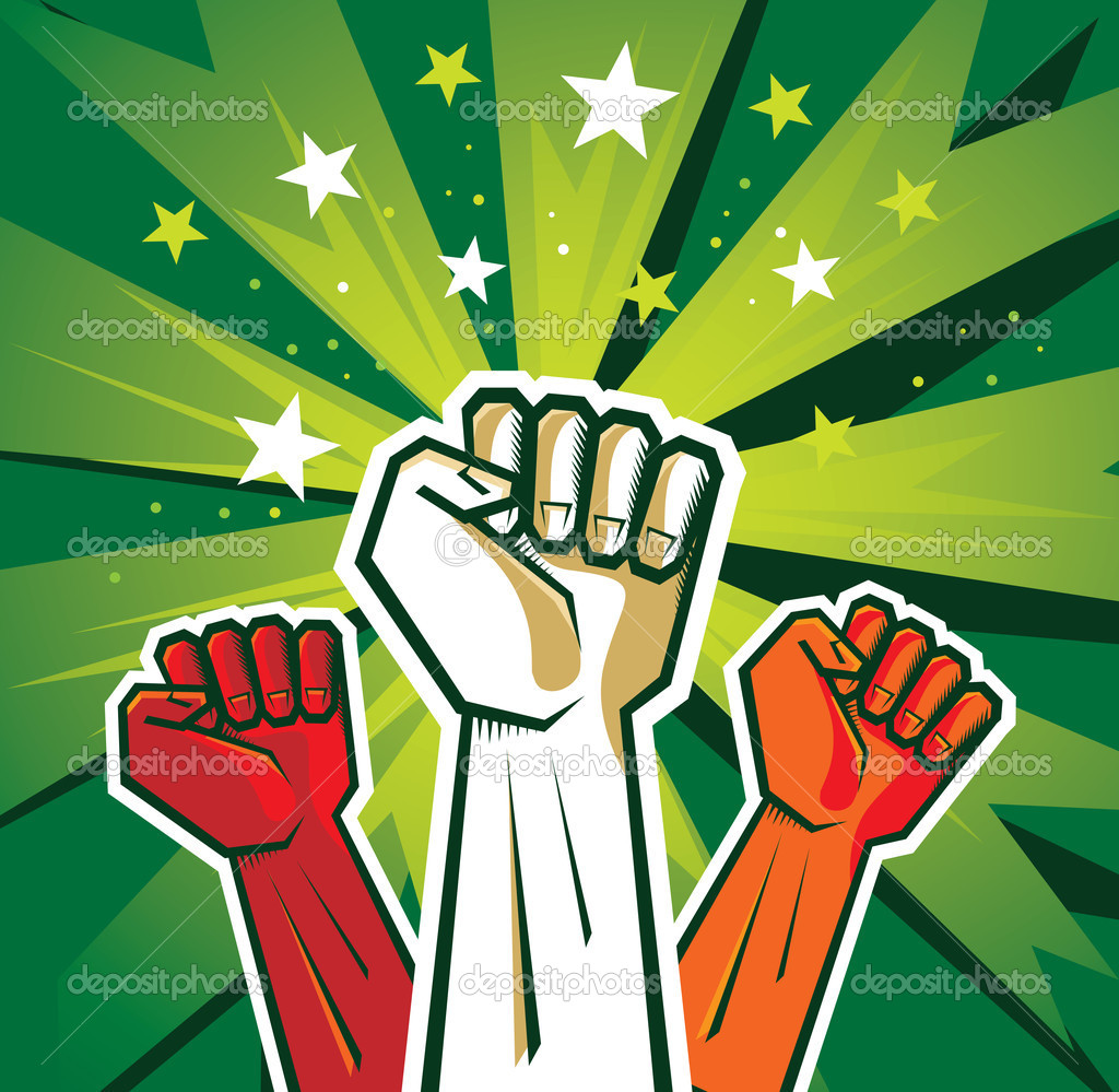 Revolution hand poster - vector illustration on green background  Stock Vector #7256897