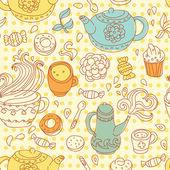 Seamless tea pattern — Stock Vector