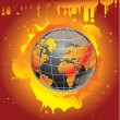 Burning earth - apocalypse — Stock Vector