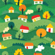 Seamless pattern with village — Stock Vector