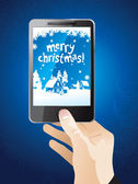 Hand holding mobile phone with christmas wallpaper — Stock Vector