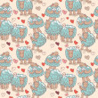 Vector seamless pattern - sheep and love — ストックベクタ