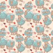 Vector seamless pattern - sheep and love — Stock vektor