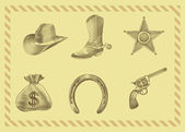 Cowboy icon set in engraving style — Vector de stock