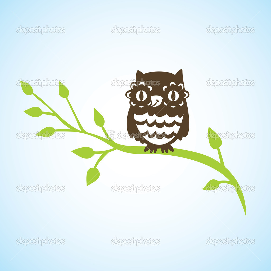 Cartoon owl sitting on green branch - vector illustration — Stock Vector #7776214