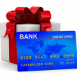 Foto Stock: White gift box with credit card. Isolated 3D image