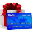 Foto de Stock  : White gift box with credit card. Isolated 3D image
